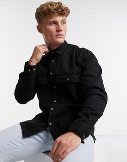 ASOS DESIGN - Hemdjacke aus Twill in Schwarz