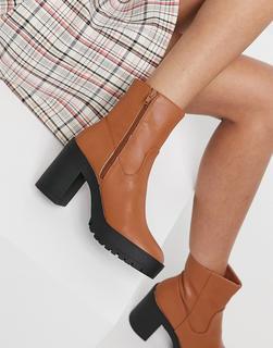 London Rebel - Hellbraune Ankle-Boots mit dicker Plateausohle-Bronze