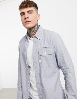 G-Star - Bristum Flap – Langärmliges, schmales Hemd mit Button-Down-Kragen-Blau