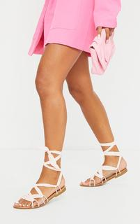 PrettyLittleThing - Cream Ghillie Lace Up Sandals, White