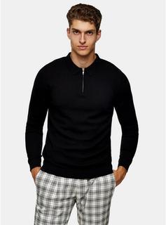 Topman - Mens Considered Black Polo Zip Knitted Jumper, Black