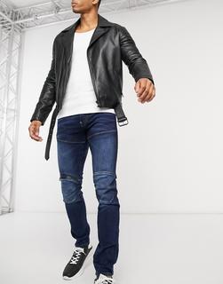 G-Star - 5620 3D – Skinny-Jeans in mittlerer Waschung mit Reißverschluss am Knie-Blau