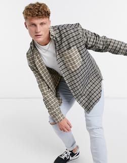 ASOS DESIGN - Übergroßes, kariertes Hemd im Stil der 90er in Braun