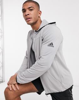adidas Performance - adidas Training – Graue Kapuzenjacke mit Reißverschluss