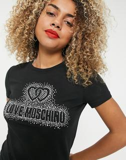 Love Moschino - Schwarzes T-Shirt mit strassverziertemLogo