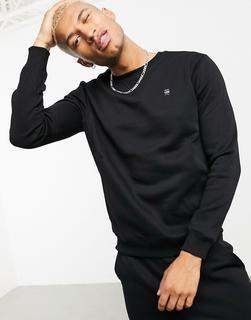 G-Star - Core – Schwarzes Rundhals-Sweatshirt mit kleinem Logo