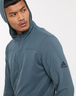 adidas Performance - adidas – Training – Kapuzenjacke mit Reißverschluss in Blau