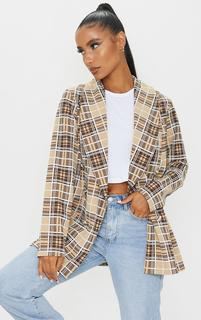 PrettyLittleThing - Brown Checked Triple Breasted Oversized Crepe Blazer, Brown