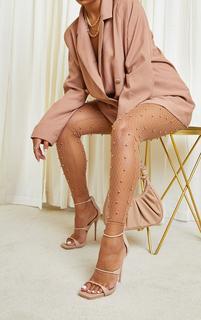 PrettyLittleThing - Beige Square Toe Triple Strap High Heel Sandals, Camel