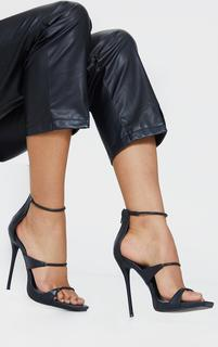 PrettyLittleThing - Black Square Toe Triple Strap High Heel Sandals, Black