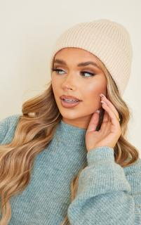 PrettyLittleThing - Cream Knit Beanie, White