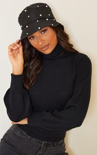 PrettyLittleThing - Black With White Pearls Bucket Hat, Black