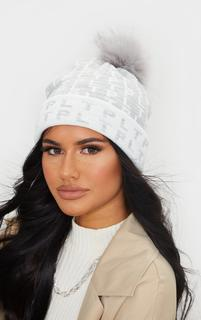 PrettyLittleThing - All Over Pom Pom Grey Beanie, Grey