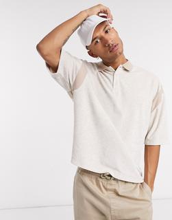 ASOS DESIGN - Hellbeiges Oversize-Poloshirt aus Frottee mit weitem 3/4-Arm, Kombiteil-Weiß