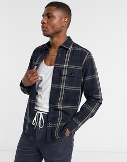 ASOS DESIGN - Elegante Hemdjacke mit geradem Saum in Marine und Schwarz-Navy