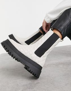 Public Desire - Nature – Gesteppte, klobige Stiefel in Knochenweiß-Cremeweiß