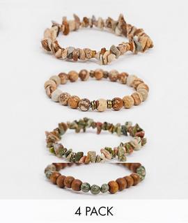 ASOS DESIGN - Perlenarmbänder im Set mit Jaspis und Unakit-Halbedelsteinen in Erdtönen-Mehrfarbig