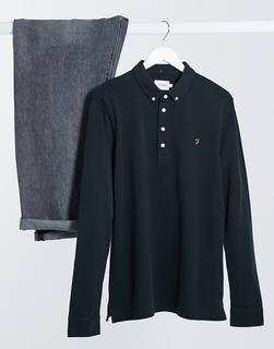 Farah - Ricky – Langärmliges Polohemd in Schwarz
