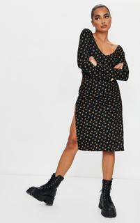 PrettyLittleThing - Petite Black Long Sleeve Ditsy Print Jersey Split Midi Dress, Black