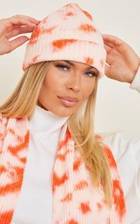 PrettyLittleThing - Orange Tie Dye Ribbed Beanie, Orange