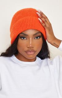 PrettyLittleThing - Hot Orange Knit Beanie, Orange
