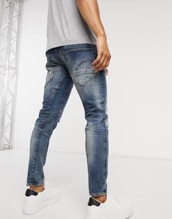 G-Star - D-Staq 3D – Eng geschnittene Jeans in mittelblauer Aged-Waschung
