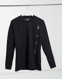 Reebok - Training – Schwarzes Sweatshirt mit Taschen-Detail