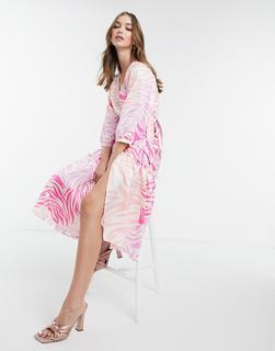 Liquorish - Midi-Wickelkleid mit rosa Zebramuster