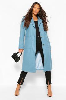 boohoo - Womens Tall Longline Mantel In Wolloptik Mit Taschendetail - Blau - 38, Blau