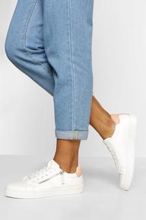 boohoo - Womens Schlichte Sneaker Zum Schnüren Mit Seitlichem Reißverschluss - Rosa - 39, Rosa