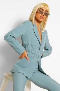 boohoo - Womens Eng Anliegender Blazer Mit Geraffter Taille Und Knopf - Schieferblau - 96,5 Cm., Schieferblau