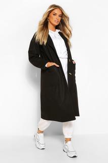 boohoo - Womens Longline Mantel In Wolloptik Mit Taschendetail - Schwarz - 36, Schwarz