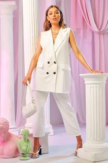 boohoo - Womens Eng Anliegender Mantel Mit Taschendetail - Elfenbeinfarben - 40, Elfenbeinfarben