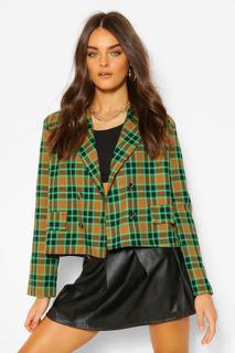 boohoo - Womens Zweireihiger, Karierter Blazer In Kastenform Mit Tasche - Grün - 40, Grün
