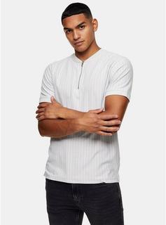 Topman - Mens Grey Pinstripe Baseball Polo, Grey