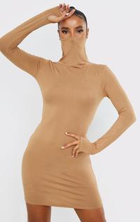 PrettyLittleThing - Stone Jersey Long Sleeve Mask Bodycon Dress, White