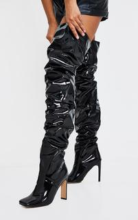 PrettyLittleThing - Black Patent Square Toe Ruched Over The Knee Flat High Heeled Boots, Black