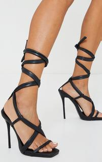 PrettyLittleThing - Black PU Lace Up Square Toe High Heel, Black