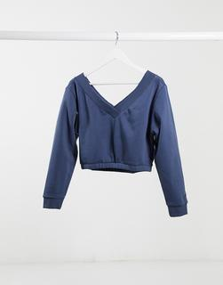 Reebok - Training – Kurz geschnittenes Sweatshirt in Blau