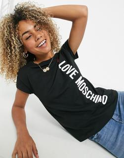 Love Moschino - Core – Schwarzes T-Shirt mit seitlichem Logo