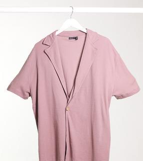 ASOS DESIGN - Tall – Polohemd in Wickeloptik mit Waffelstruktur und Reverskragen in verwaschenem Violett