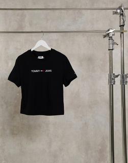 Tommy Jeans - T-Shirt mit Logo vorne in Schwarz