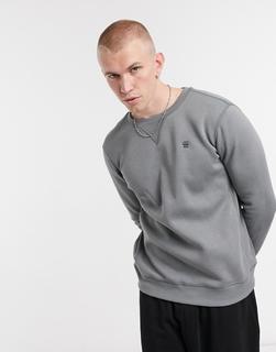 G-Star - Core – Graues Sweatshirt mit kleinem Logo und Rundhalsausschnitt