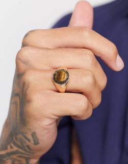 ASOS DESIGN - Goldfarbener Siegelring mit Tiegeraugen-Zierstein
