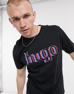 HUGO - Dontrol – T-Shirt mit großem Logo in Schwarz