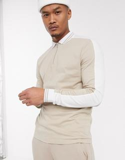 ASOS DESIGN - Langärmliges Polohemd aus Bio-Baumwolle in Beige mit Reißverschluss und kontrastierender Schulterpasse