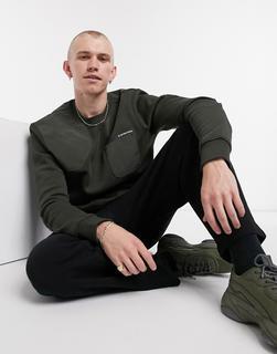G-Star - Sweatshirt in dunklem Khaki mit Taschen-Grün