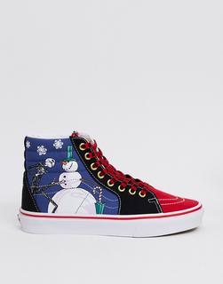 Vans - x Nightmare Before Christmas – SK8-Hi – Sneaker in Blau & Rot-Mehrfarbig
