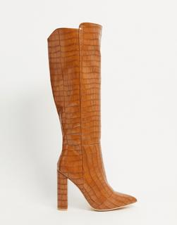Glamorous - Overknee-Stiefel in hellbraunem Krokodesign-Bronze