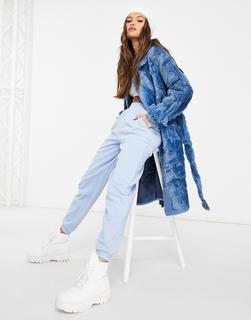 Jayley - Zweireihiger Teddyfell-Mantel mit gebundener Taille in Blau